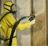 Spray-on foam insulation, hazard suit