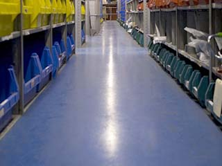 Concrete Coatings blue storage flooring