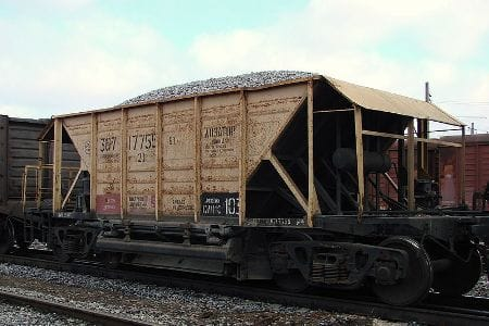 Sample of uncoated mining hopper car