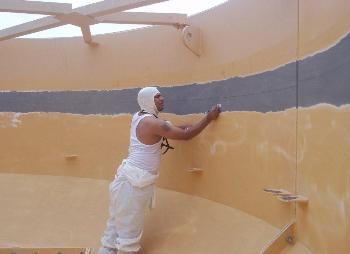 Prepping tanks for polyurethane coating