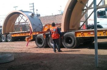 Transporting industrial water tanks for coating