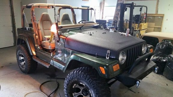 1997 Jeep with ArmorThane to prevent rock damage
