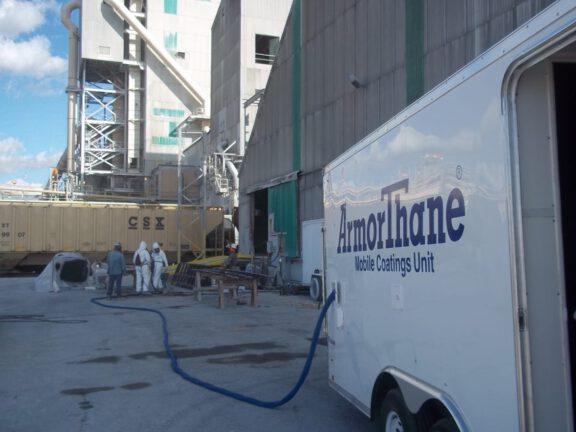 ArmorThane Custom built Mobile Coatings Unit at Industrial Jobsite