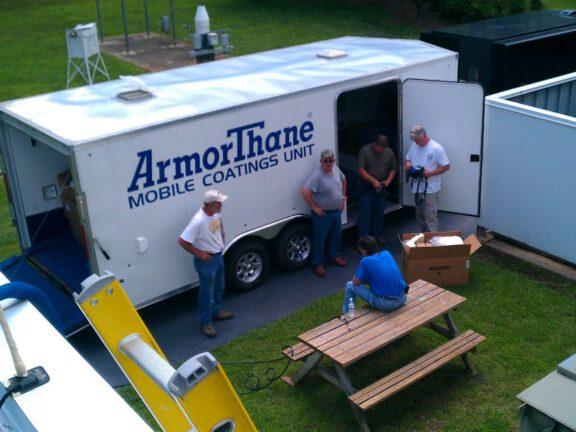ArmorThane Custom built Mobile Coatings Unit at Jobsite