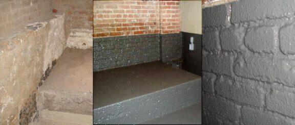 Basement brick wall coating