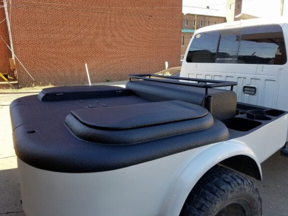 Ford F 350 welding rig coated in ArmorThane spray on bedliner