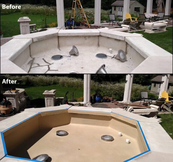 Fountain before after