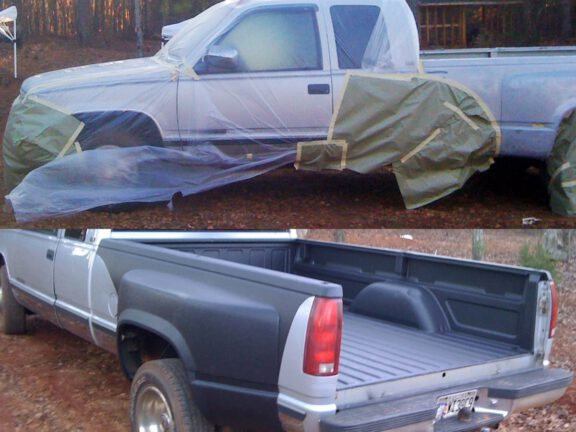 Masking truck for design spraying rear panel