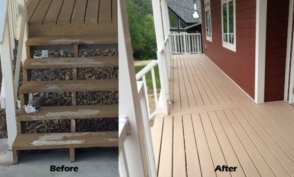 Painted deck peeling BEFORE AFTER ArmorThane