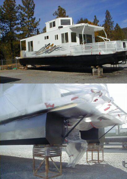 Pontoon coating for houseboat