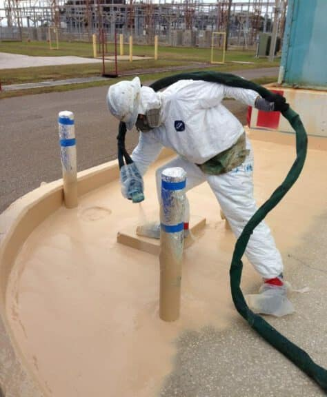 Spraying Cracked Concrete Containment