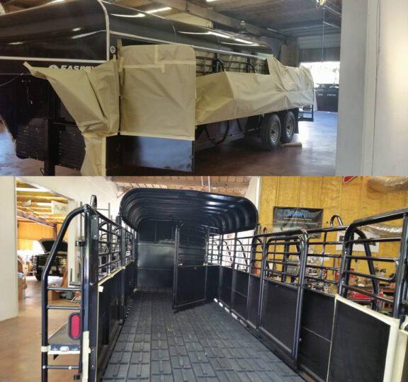 Spraying trailer inside