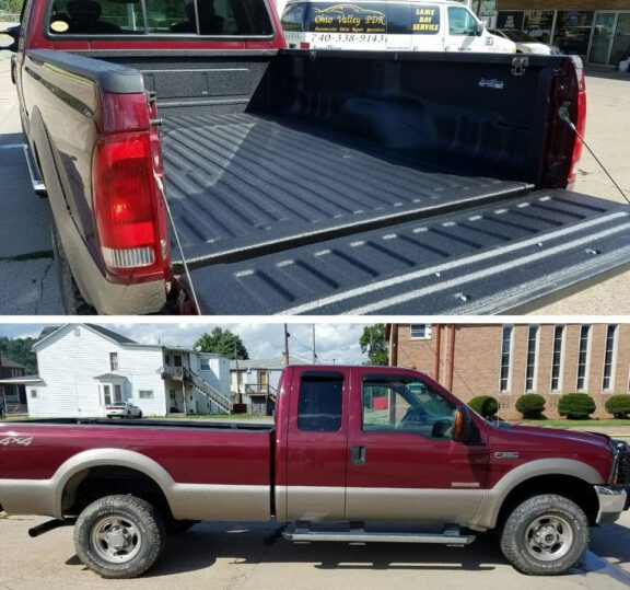 Truck coated with ArmorThane to match Arizona Beige paint
