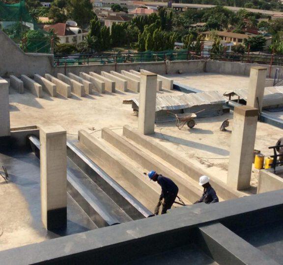 ArmorThane Ghana coating the roof decks at the Bank of Ghana Hospital