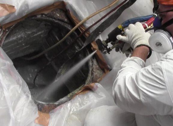 ArmorThane coating on crumbling sewer manholes