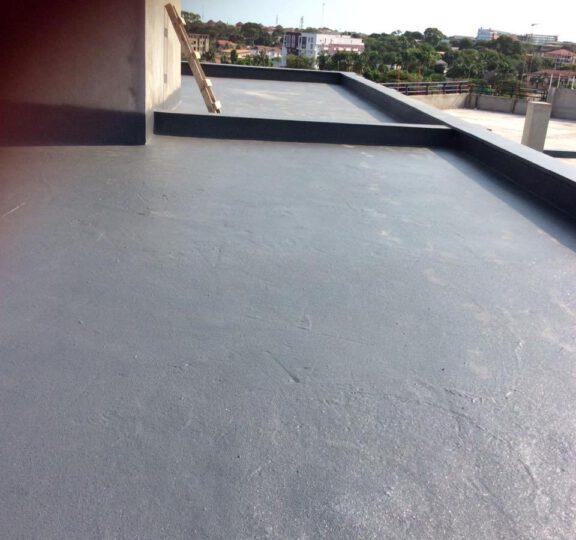Armorthane Ghana coating the roof decks at Hospital