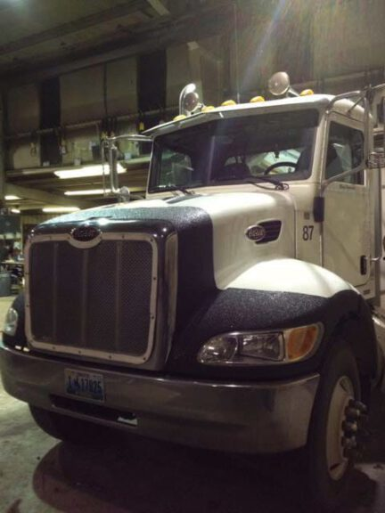 Big rig with bedliner type front protection