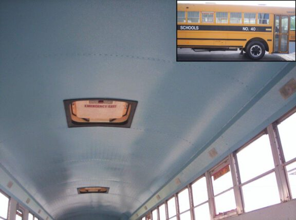 Bus ceiling coated with ArmorThane