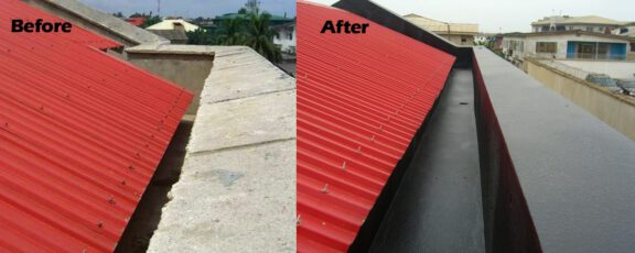Coated Roof Gutter Before After ArmorThane