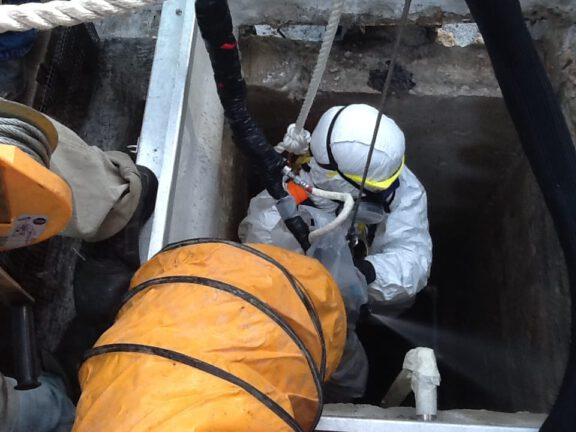 Coating sewer lines