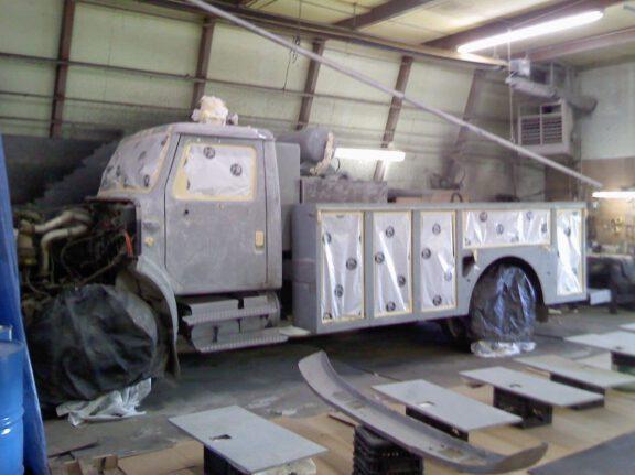 Commercial truck preparing for spray coating
