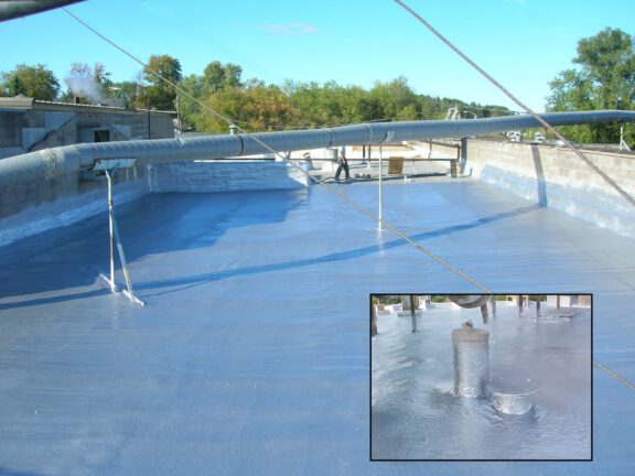 Roof with reflective ArmorThane coating